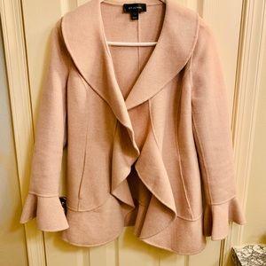 St. John Pink Ruffle Front Wool Knit Jacket